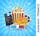 cinema banner. movie watching... | Shutterstock .eps vector #793068121