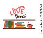 vector illustration bookshelf... | Shutterstock .eps vector #793068661