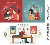 three flat tattoo studio design ... | Shutterstock . vector #793069174