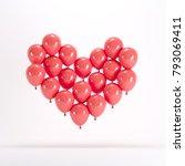 heart shape made of red balloon ... | Shutterstock . vector #793069411