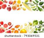 frame pattern of various fresh... | Shutterstock . vector #793069531