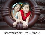 the smiling face of the sister... | Shutterstock . vector #793070284