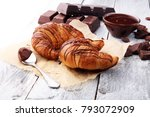 fresh homemade croissants with... | Shutterstock . vector #793072909
