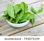 baby spinach in a white bowl on ...   Shutterstock . vector #793075159