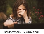 young sad vulnerable girl using ...   Shutterstock . vector #793075201