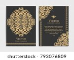 gold vintage greeting card on a ... | Shutterstock .eps vector #793076809