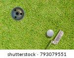 top views of golf ball putter... | Shutterstock . vector #793079551