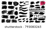 large collection of black paint ... | Shutterstock .eps vector #793083265