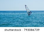 one small sailboat on open sea  | Shutterstock . vector #793086739