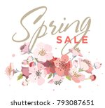 spring sale background with... | Shutterstock .eps vector #793087651
