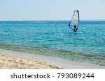 one man on  small sailboat near ... | Shutterstock . vector #793089244
