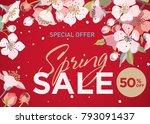 spring sale banner. cherry... | Shutterstock .eps vector #793091437