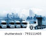 truck run on road ... | Shutterstock . vector #793111405