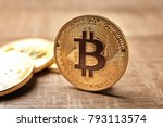 golden bitcoins on wooden... | Shutterstock . vector #793113574