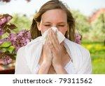 Allergic Girl Sneezing In...
