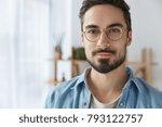 close up portrait of handsome...   Shutterstock . vector #793122757