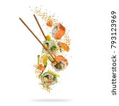 flying pieces of sushi with... | Shutterstock . vector #793123969