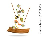 flying pieces of sushi isolated ... | Shutterstock . vector #793123999