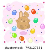 cute brown bunny jumping in... | Shutterstock .eps vector #793127851