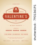 happy valentines day party... | Shutterstock .eps vector #793136191