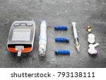 digital glucometer  lancet pen  ...   Shutterstock . vector #793138111