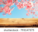 top of wood table empty ready... | Shutterstock . vector #793147375