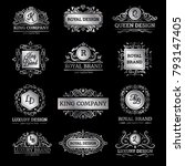 set of silver luxury labels... | Shutterstock . vector #793147405