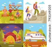 camping hiking design concept... | Shutterstock . vector #793149205