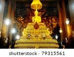 Buddha inside Wat Phra Kaeo Temple, bangkok, Thailand. - stock photo