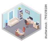 isometric office interior with... | Shutterstock . vector #793158184