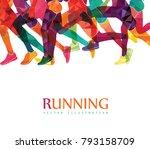 running marathon  people run ... | Shutterstock .eps vector #793158709