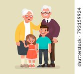 grandparents with grandchildren.... | Shutterstock .eps vector #793159924