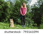 beautiful girl walking in the... | Shutterstock . vector #793161094
