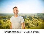 portrait of man smiling at... | Shutterstock . vector #793161901