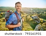 portrait of cheerful man with... | Shutterstock . vector #793161931
