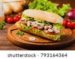 delicious tuna sandwich  served ... | Shutterstock . vector #793164364