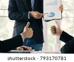 businessman show thumb and... | Shutterstock . vector #793170781