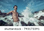 young macho man model athlete...   Shutterstock . vector #793173391