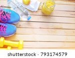 copy space with set for sports... | Shutterstock . vector #793174579