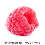 red ripe raspberry isolated on...   Shutterstock . vector #793177441