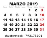 march month in a year 2019 wall ... | Shutterstock .eps vector #793178101