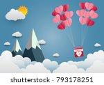 valentine's day balloon heart... | Shutterstock .eps vector #793178251