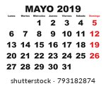 may month in a year 2019 wall... | Shutterstock .eps vector #793182874