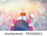 young girl using mobile phone... | Shutterstock . vector #793183021