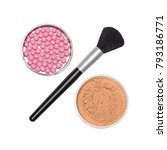 make up brush with round jars... | Shutterstock . vector #793186771