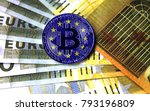 a close up of bitcoin against... | Shutterstock . vector #793196809
