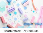 composition with sewing threads ...   Shutterstock . vector #793201831