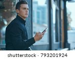 business man with a phone on... | Shutterstock . vector #793201924