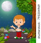 a boy under the bright fullmoon | Shutterstock .eps vector #793204969