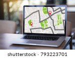 gps map to route destination... | Shutterstock . vector #793223701
